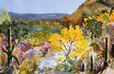 Sabino Autumn Revisited, watercolor by Barbara Strelke