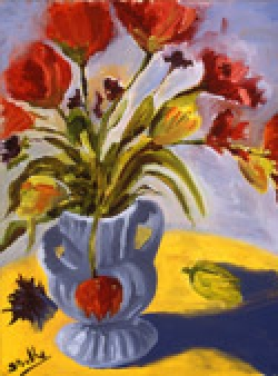 Still Life with Poppies, oil on canvas by Barbara Strelke