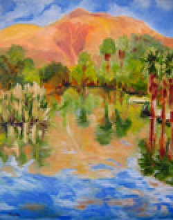 Warm Day at Agua Caliente Park, oil on canvas by Barbara Strelke